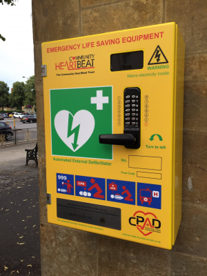 Defibrillator 2 - on the toilet block by Banbury Cross