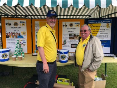 Lions Ian Wilson and Fred Nicholls with our stall