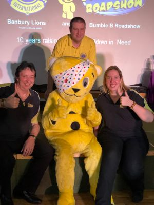 Lion President Richard High, Pudsey and the Bumble B Roadshow
